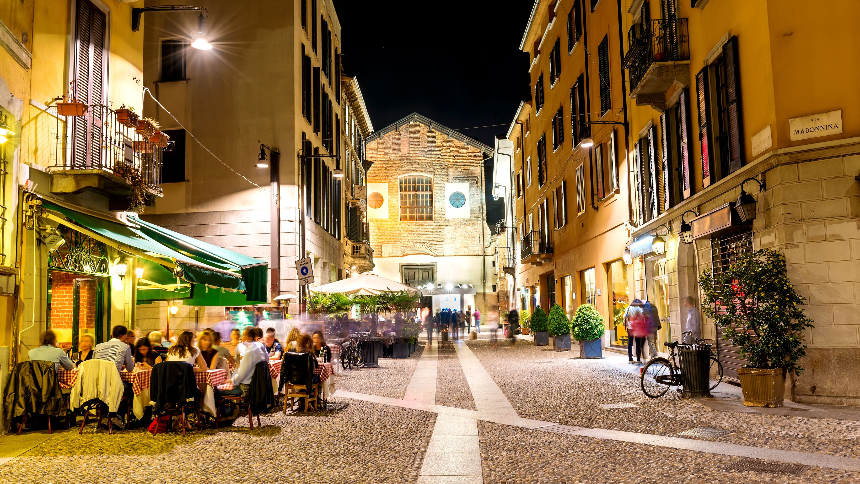 Restaurants on the street in Milan