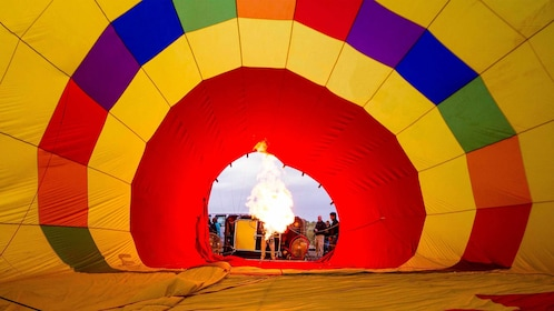 Inflating a hot air balloon in Colorado Springs