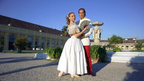 dancers outside palace