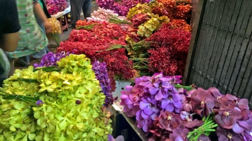 colorful flowers at the market in Bangkok