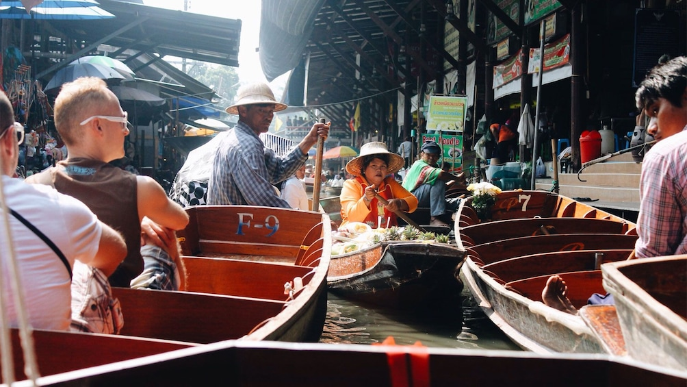 Show item 2 of 6. View from a boat of the Damnoen Saduak Floating Market in Bangkok, Thailand