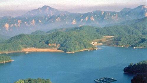 aerial view of sun moon lake