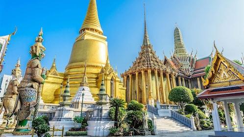 Beautiful Wat Pra Kaew, The Grand Palace, blue sky, Bangkok Thailand