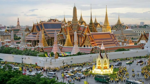 Sunset view of the Grand Palace in Thailand