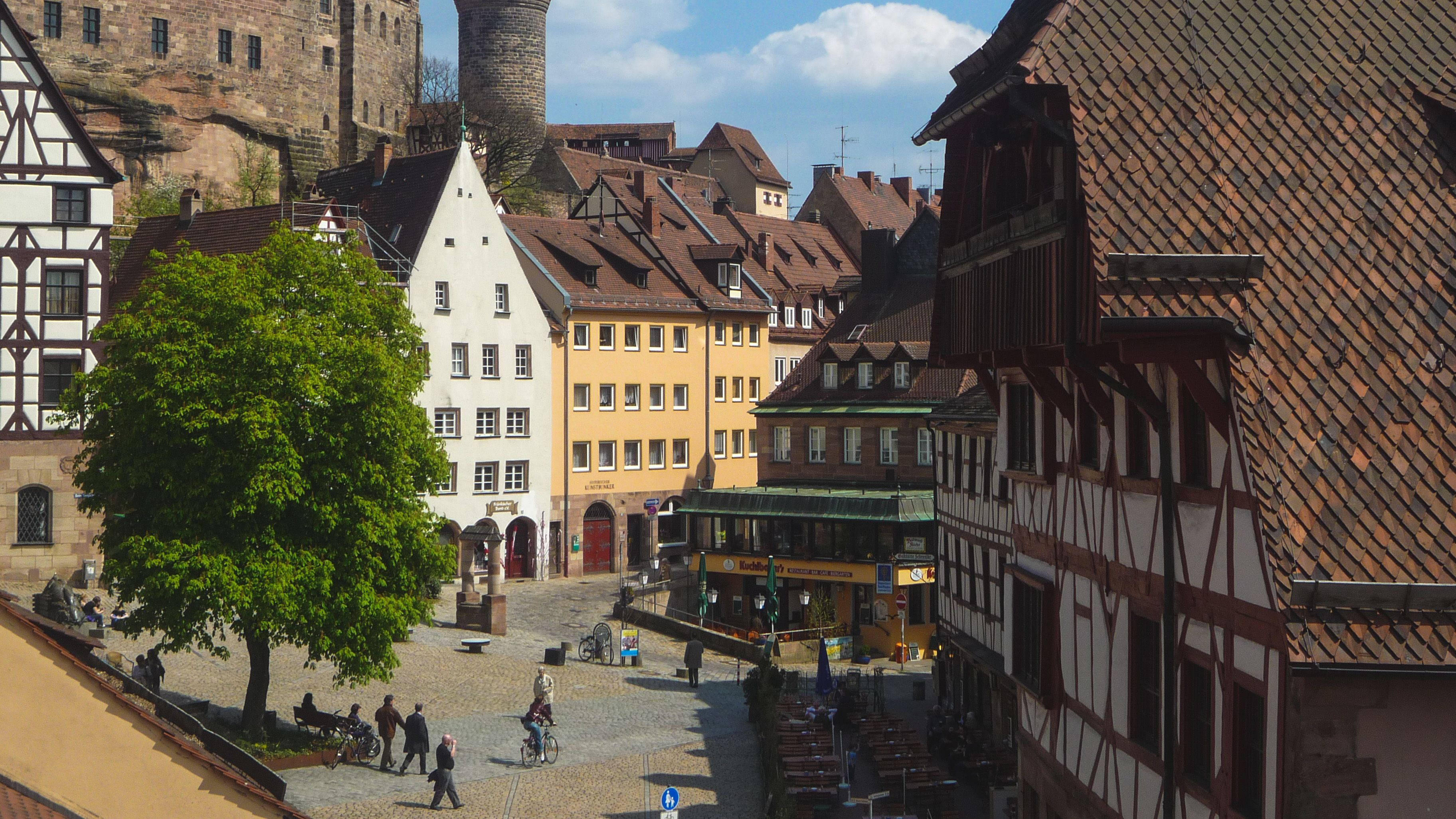 View of local buildings in Old Town Nuremberg.