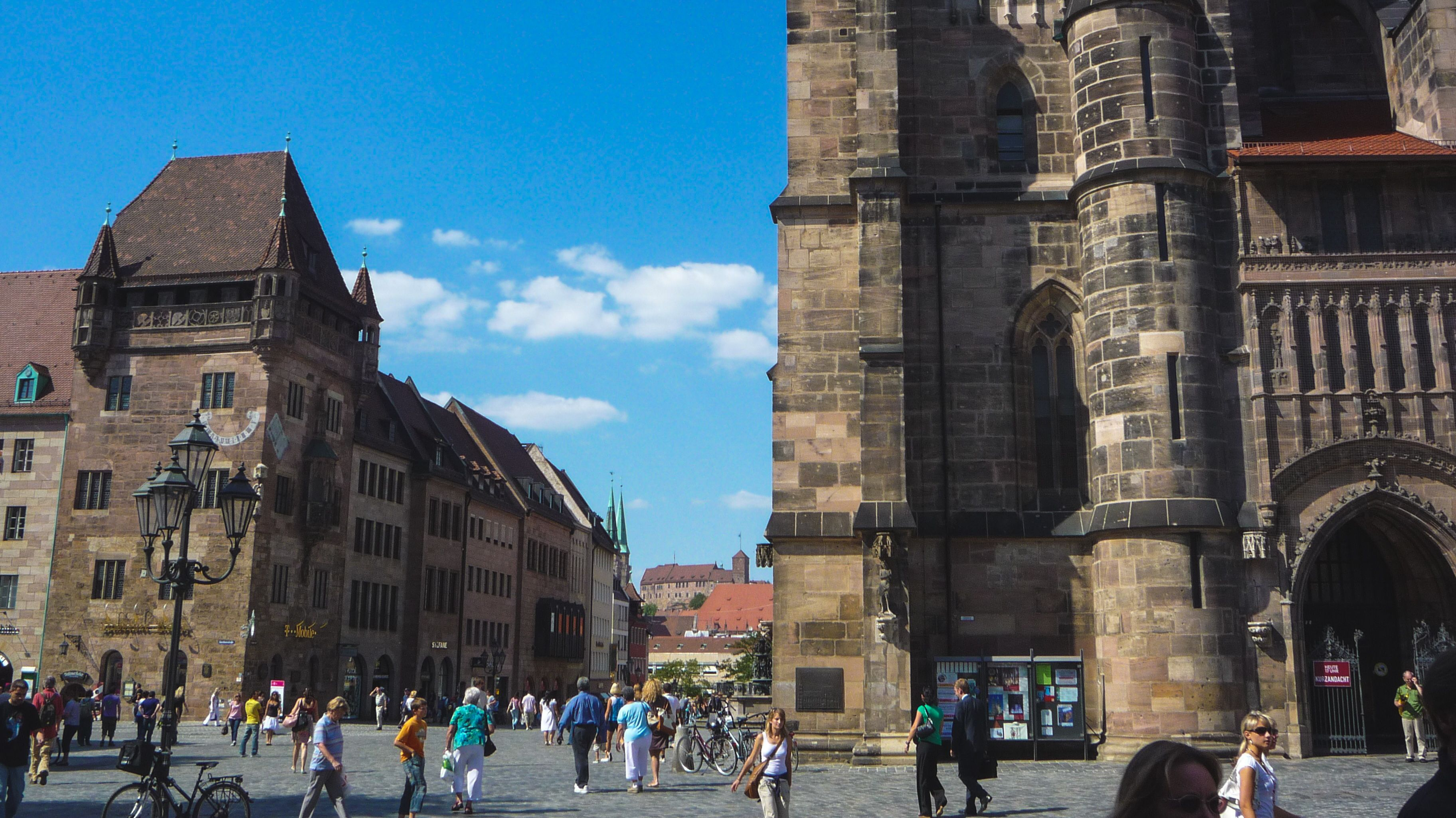 View of local buildings in Nuremberg with intricate detail.