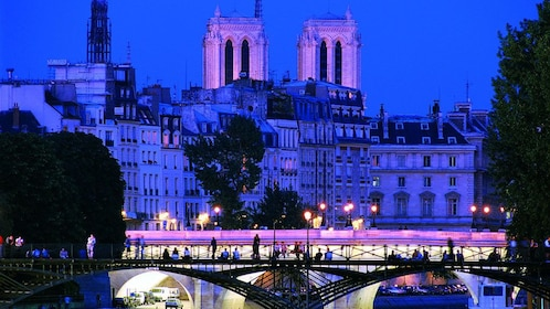 Notre Dame at night in Paris