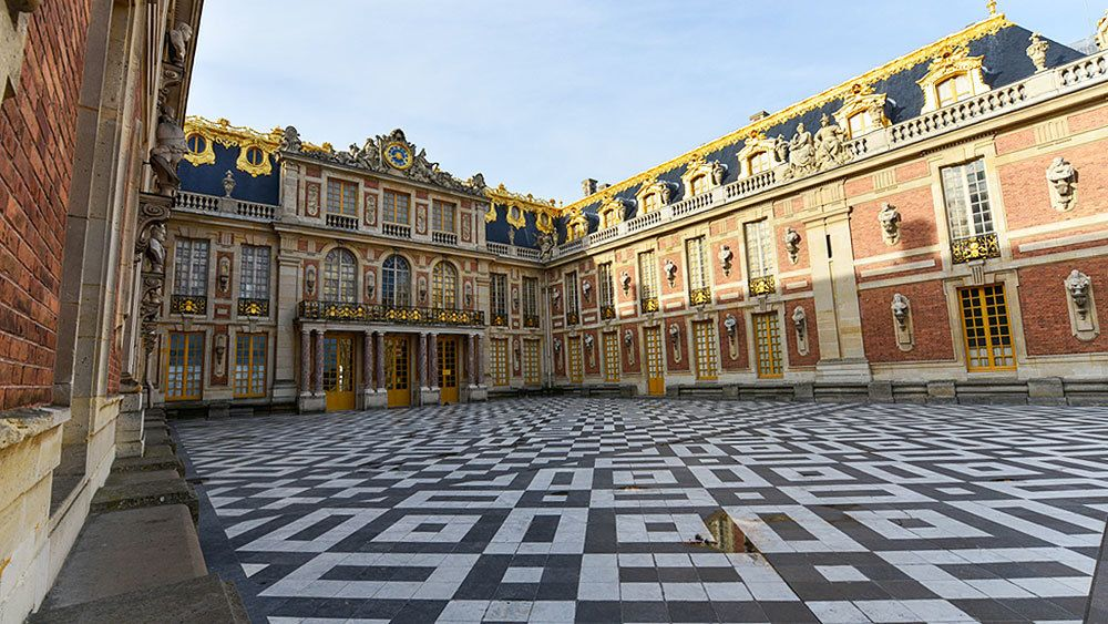 View on marble courtyard in Versailles