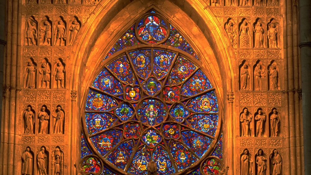 Cathedral stained glass window in Reims