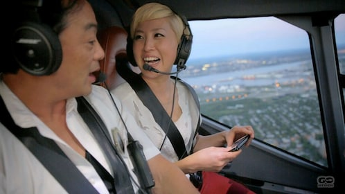 Helicopter passengers on a tour over the city of Quebec