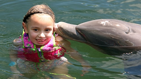Young girl smiles next to dolphin in Florida Keys