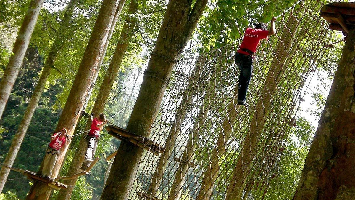 Group on the spider nets at the Bali Treetop Adventure Park