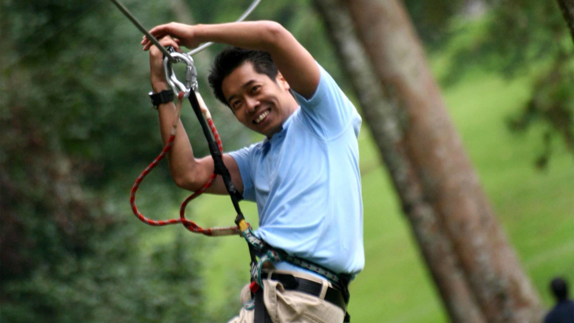 Guest at the Bali Treetop Adventure Park