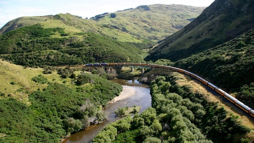 Train in a valley in Otago