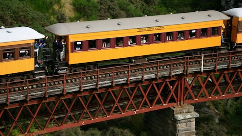 Passenger train on a bridge in Otago