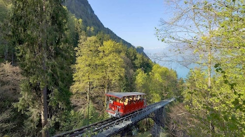 Funicular through the trees in Switzerland