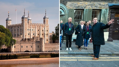 Split image of the Tower of London and the Jack the Ripper tour in London