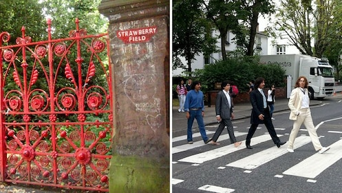 Split image of Strawberry Field and the famous Abbey Road crossing