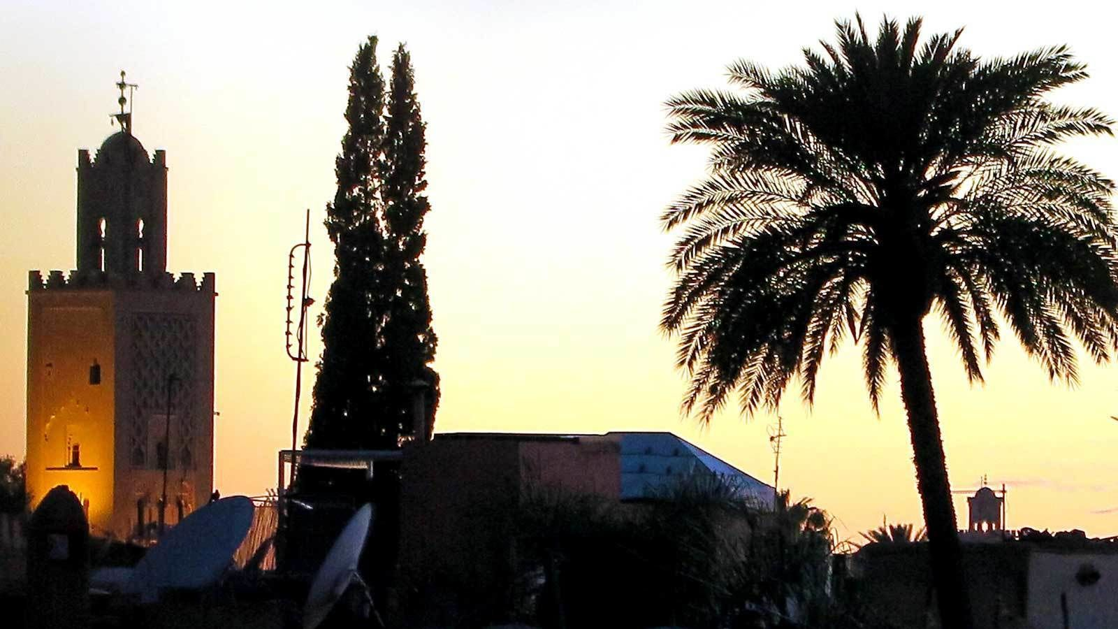 watching the sunset from the town in Marrakech
