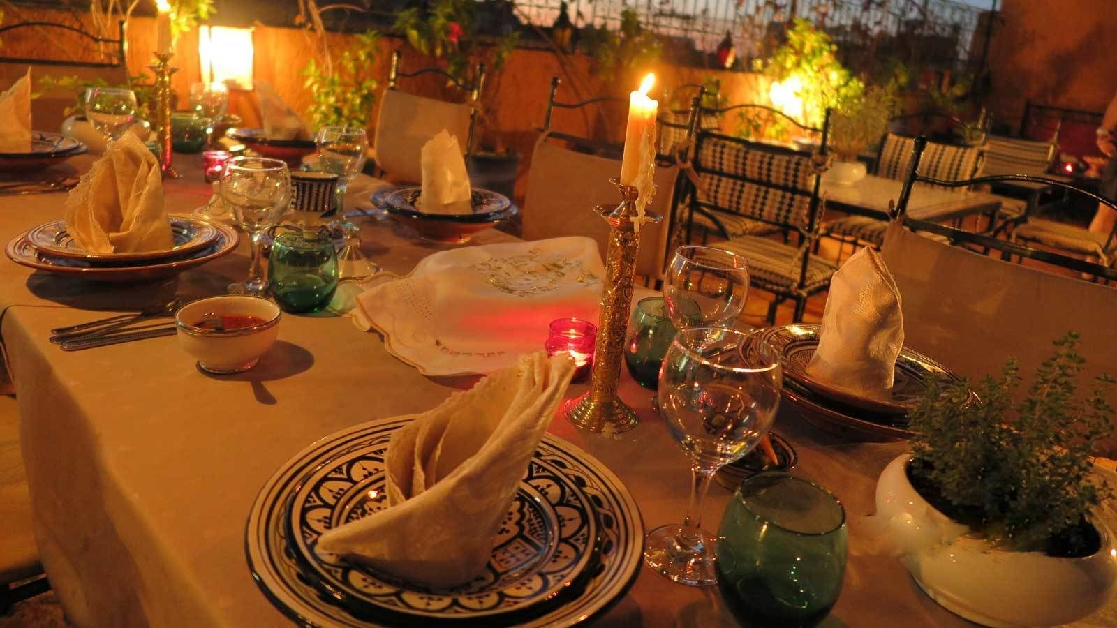 dinner by candlelight in Marrakech