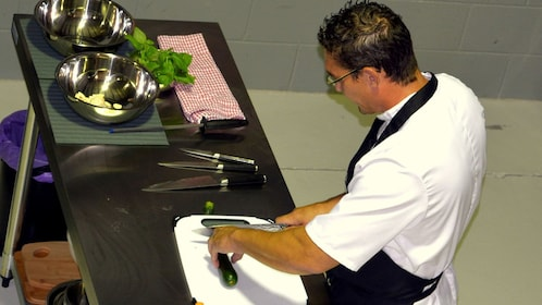 Instructor demonstrating with knife