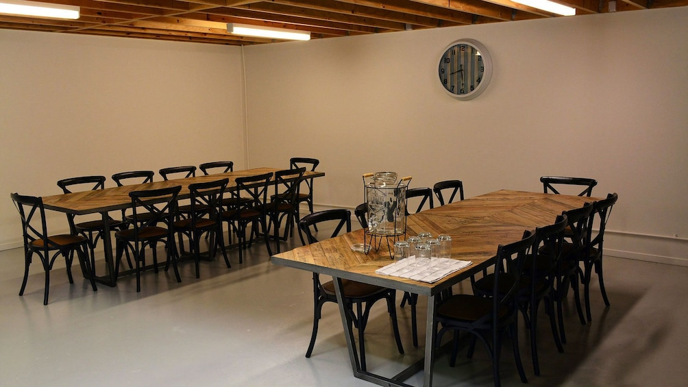dining area of cooking school