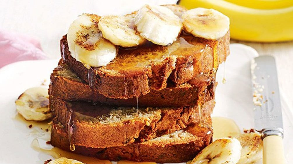close up of banana frech toast at cooking school