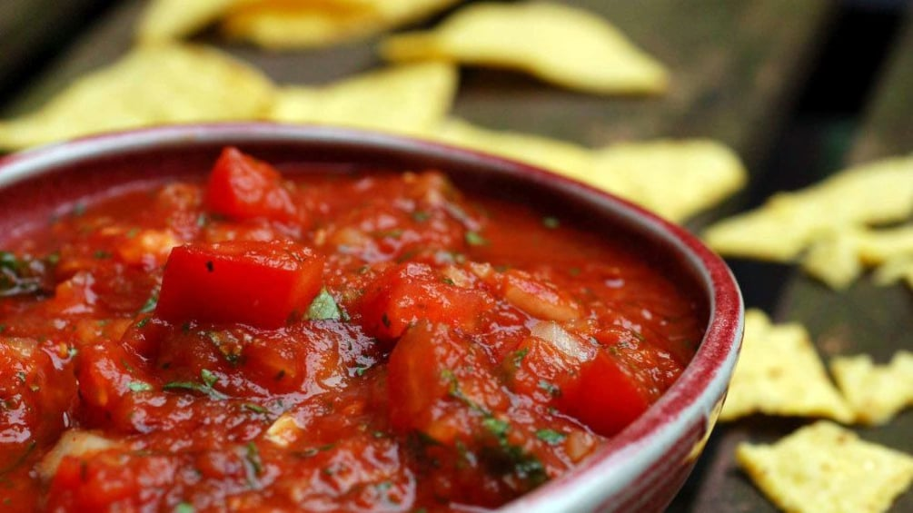 Show item 3 of 5. close up of salsa at cooking school
