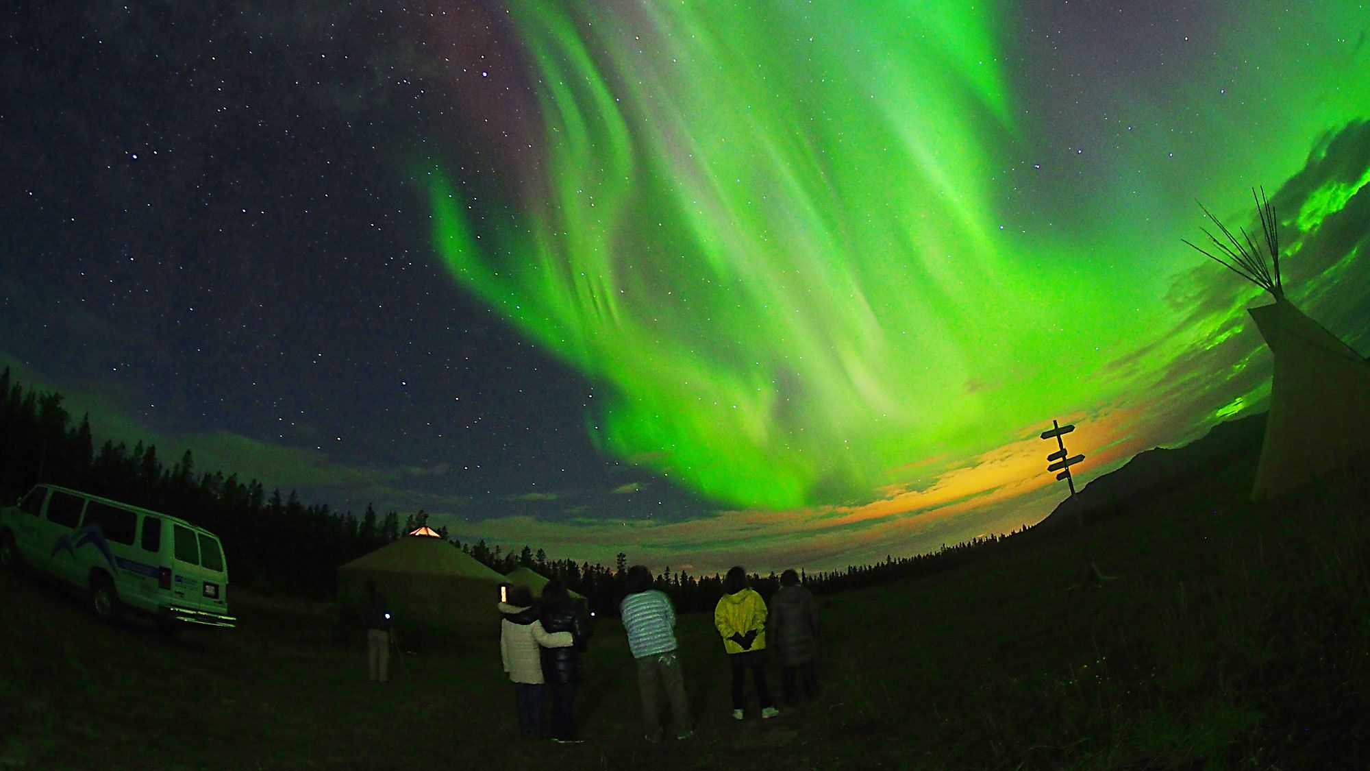 Guests viewing the Aurora Borealis in the Canada Territories
