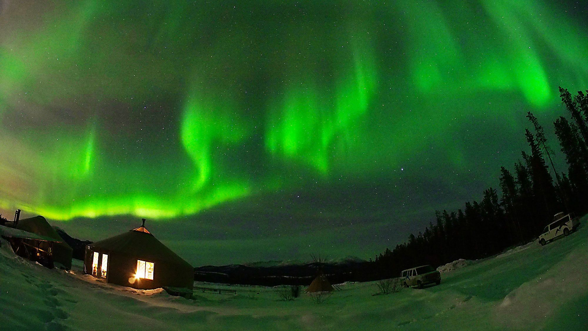 Yukon Night Sky Aurora Borealis Viewing in the Canada Territories