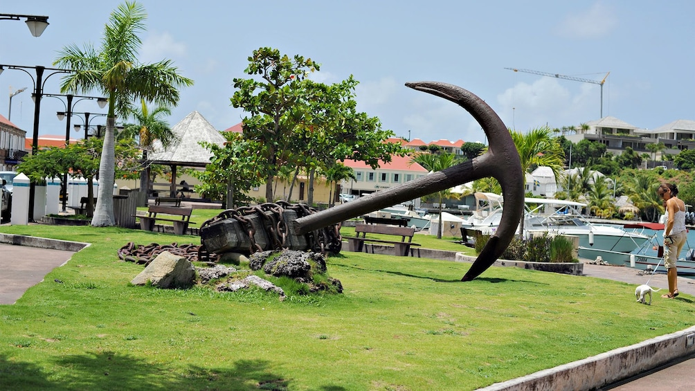 Show item 3 of 10. Statue of an anchor in St. Barts
