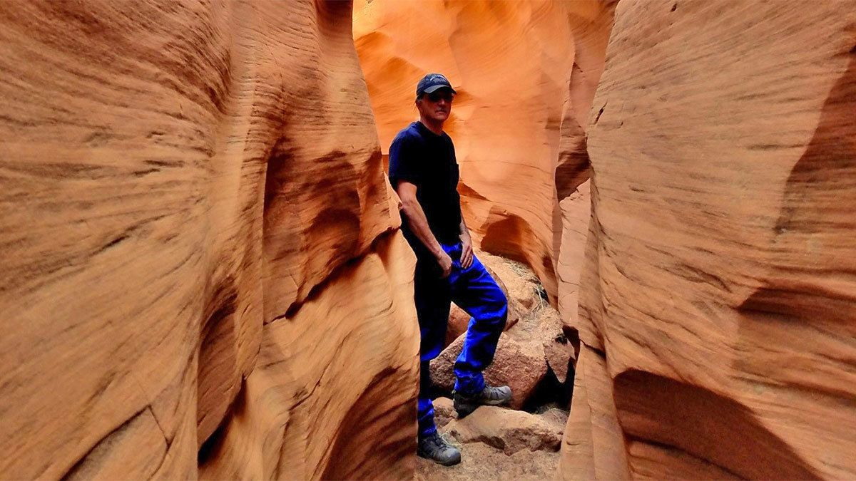 Man at the Antelope Slot Canyon in Sedona, Arizona
