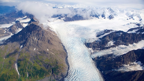 View of a glacier and mountains from a helicopter in Anchorage