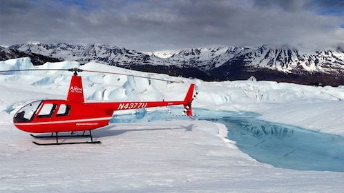 Helicopter on a glacier in Anchorage
