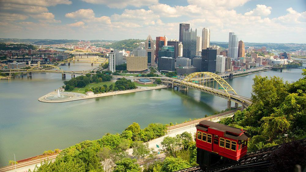 Duquesne Incline and view of the city in Pittsburgh