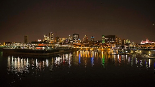 City along the river at night in Montreal