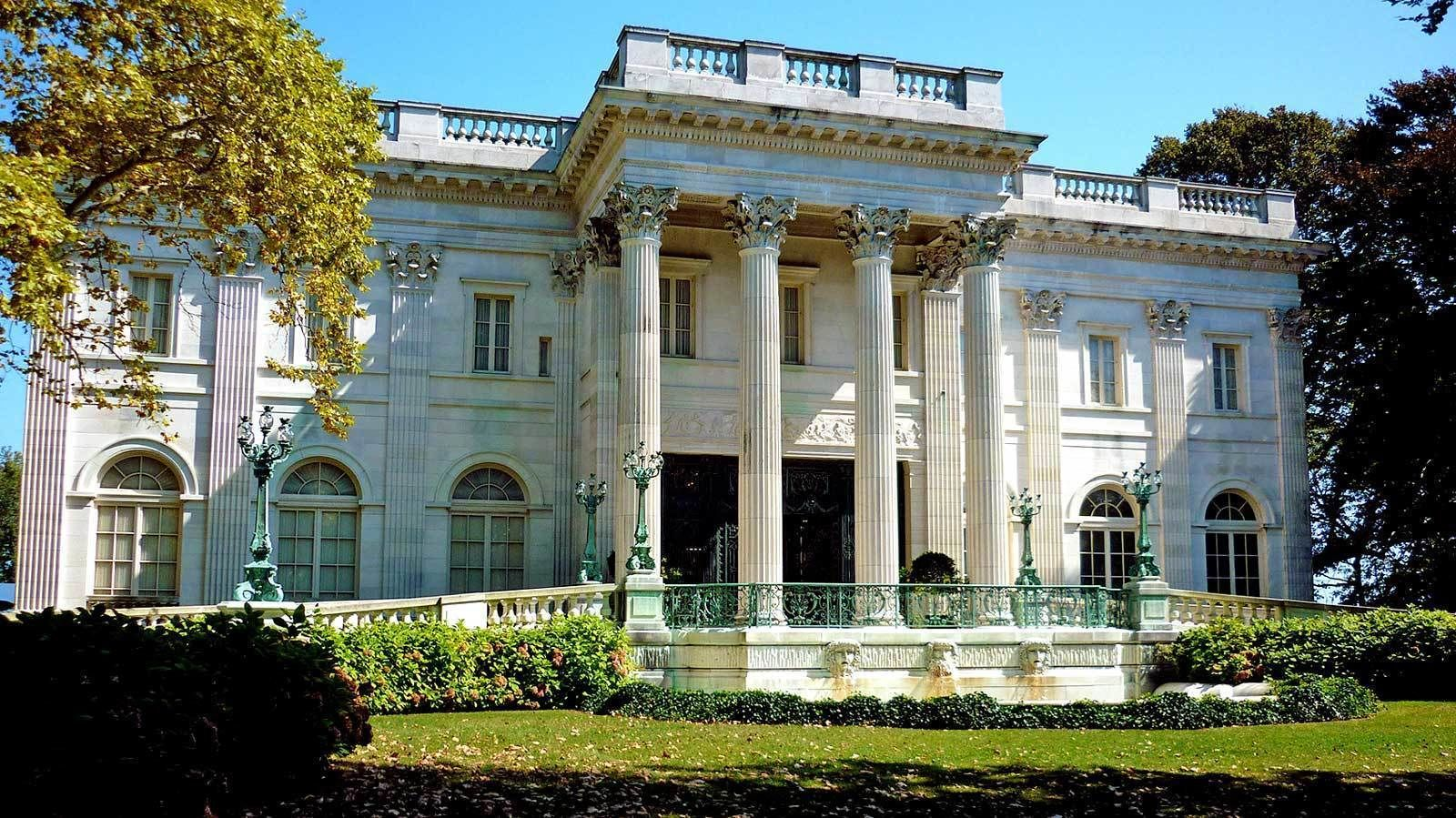 mansion exterior with columns in Newport