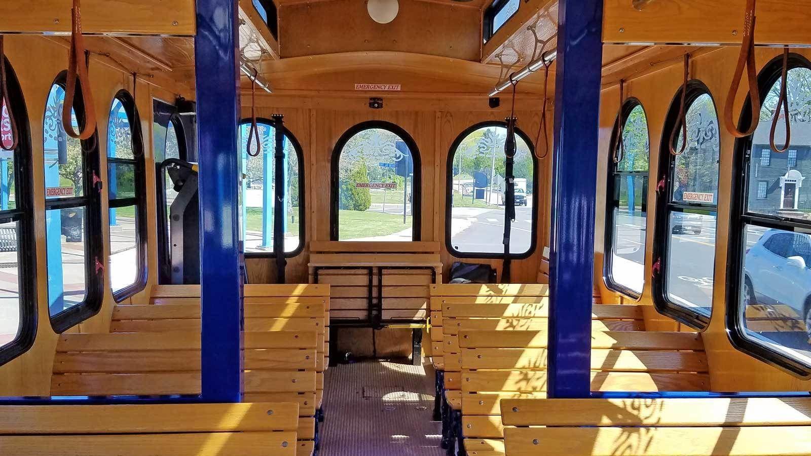 wooden trolley seats in Newport