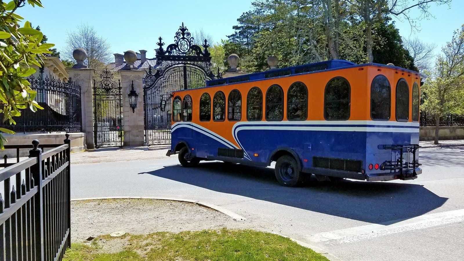 bus trolley entering a fenced gate in Newport