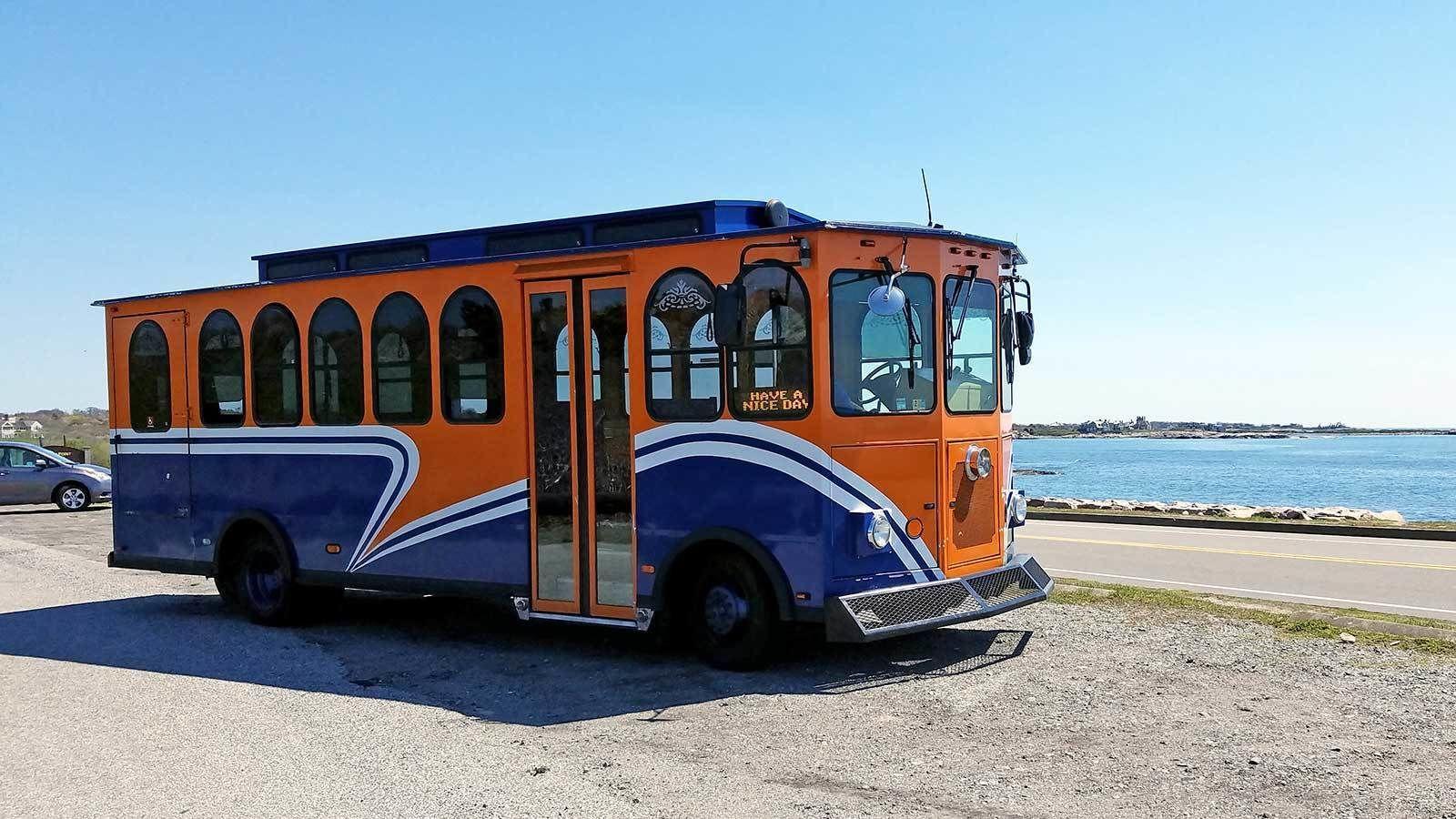 bus trolley along the beach in Newport