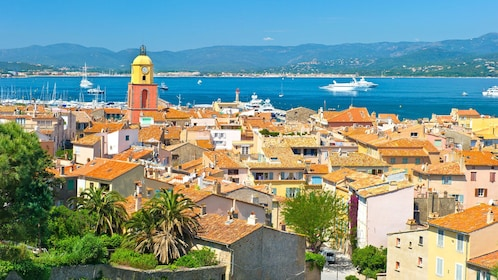 Panoramic view of Saint-Tropez Town in France