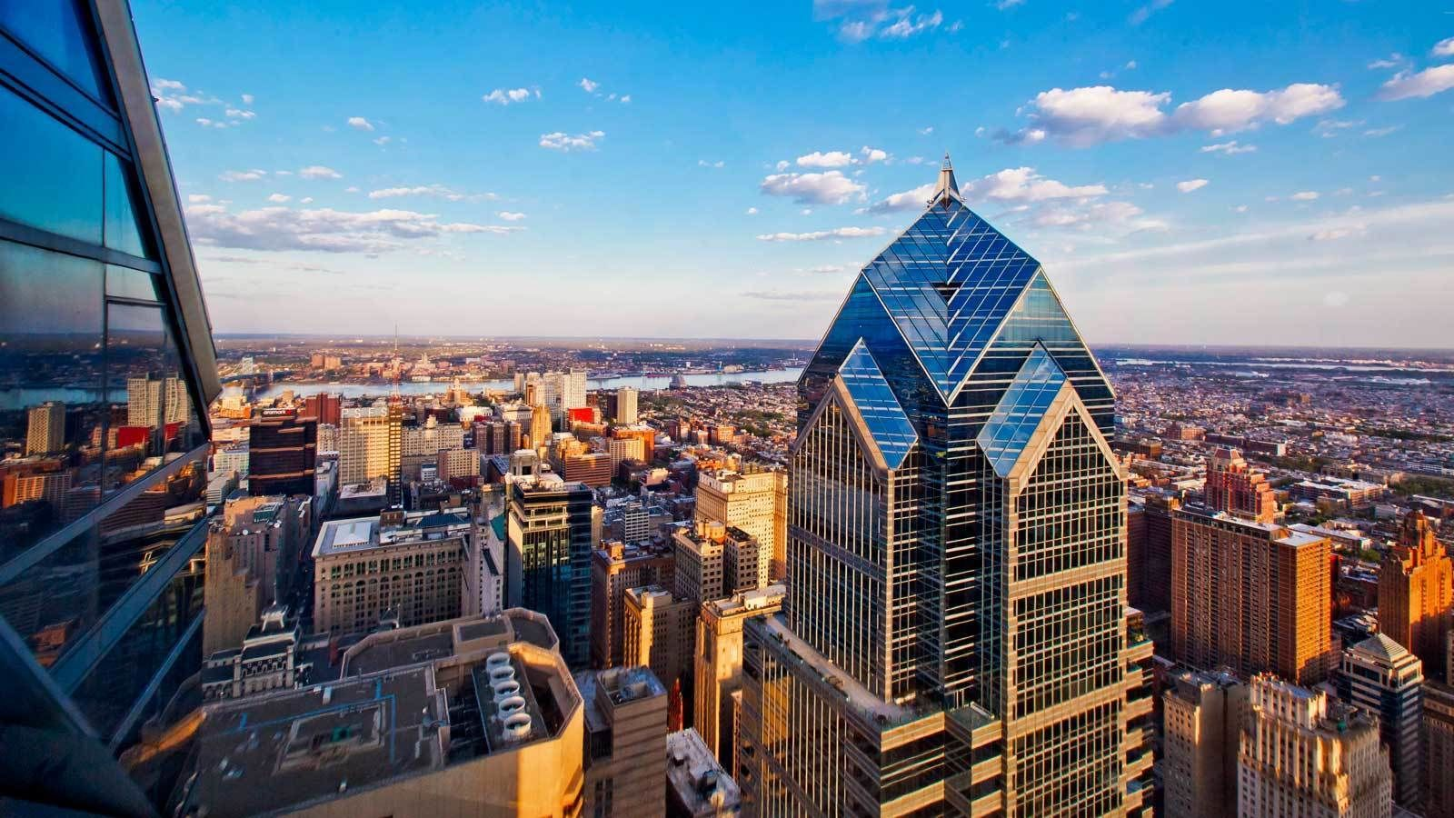view of the skyscrapers from the observation deck in Philadelphia