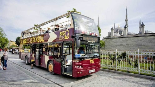 boarding a double decked bus in Istanbul