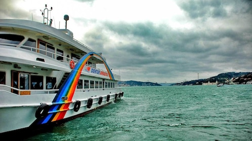 aboard a boat on an overcast day in Istanbul