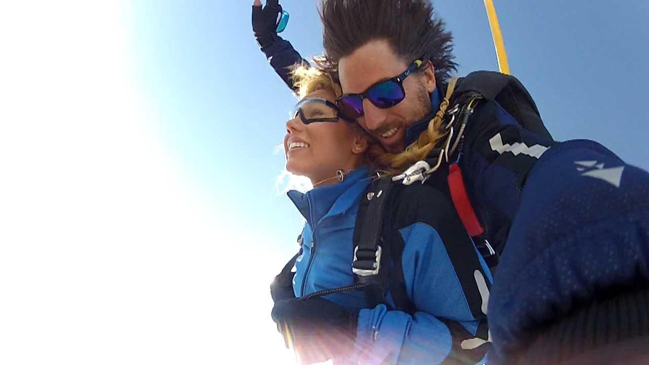 Two people skydiving
