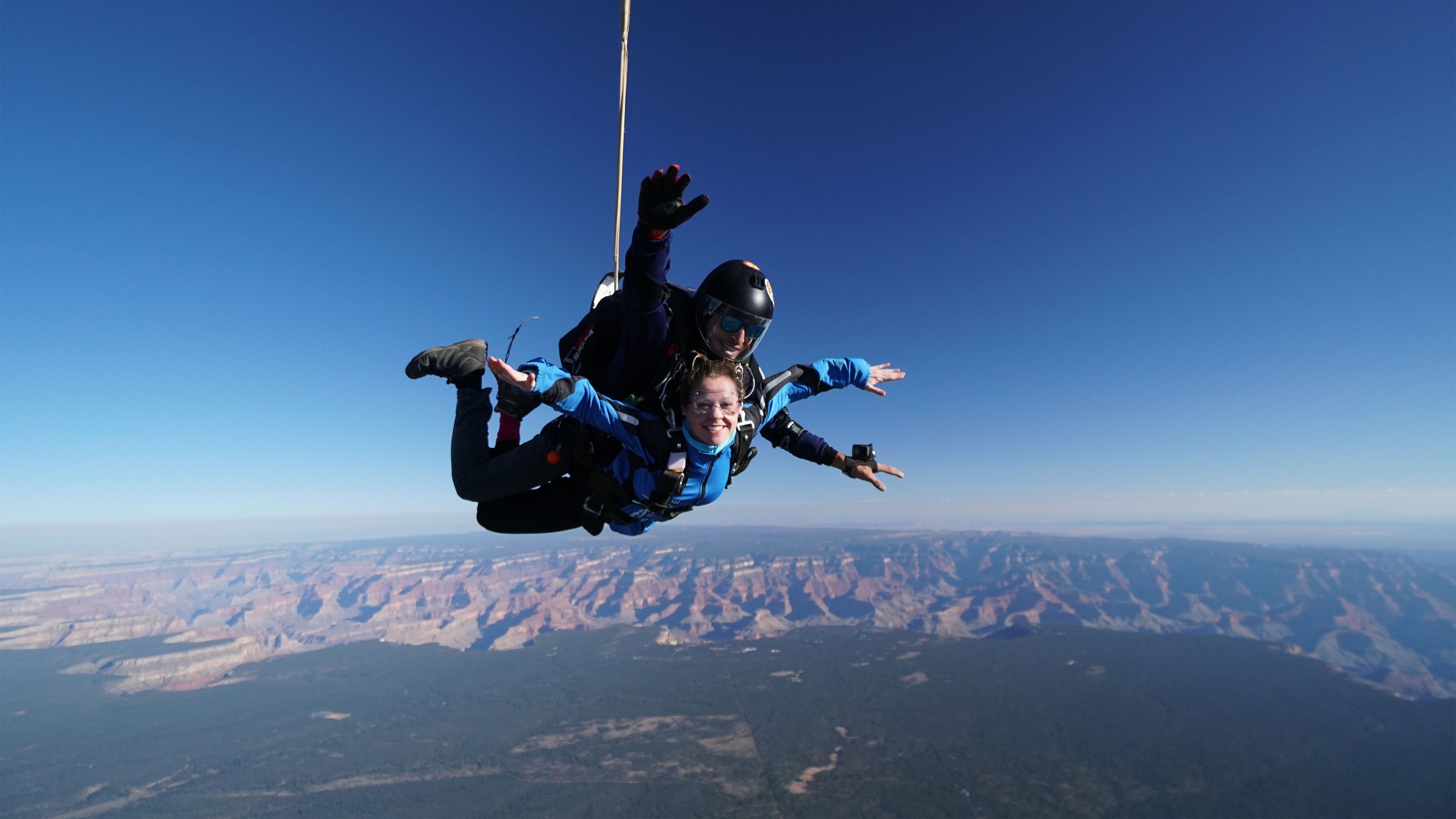 Tandem skydiving over the Grand Canyon