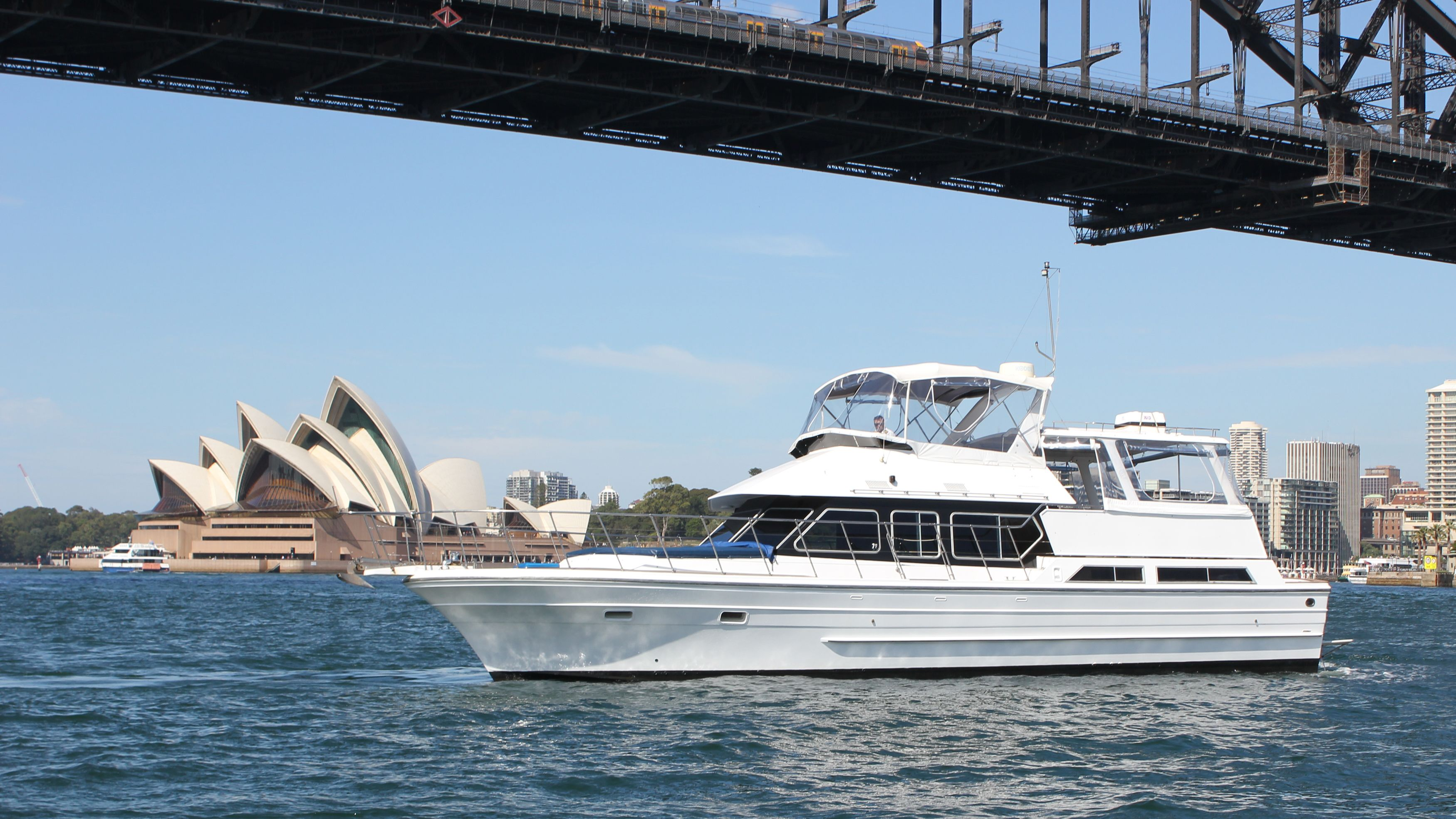 A yacht in the Sydney harbor