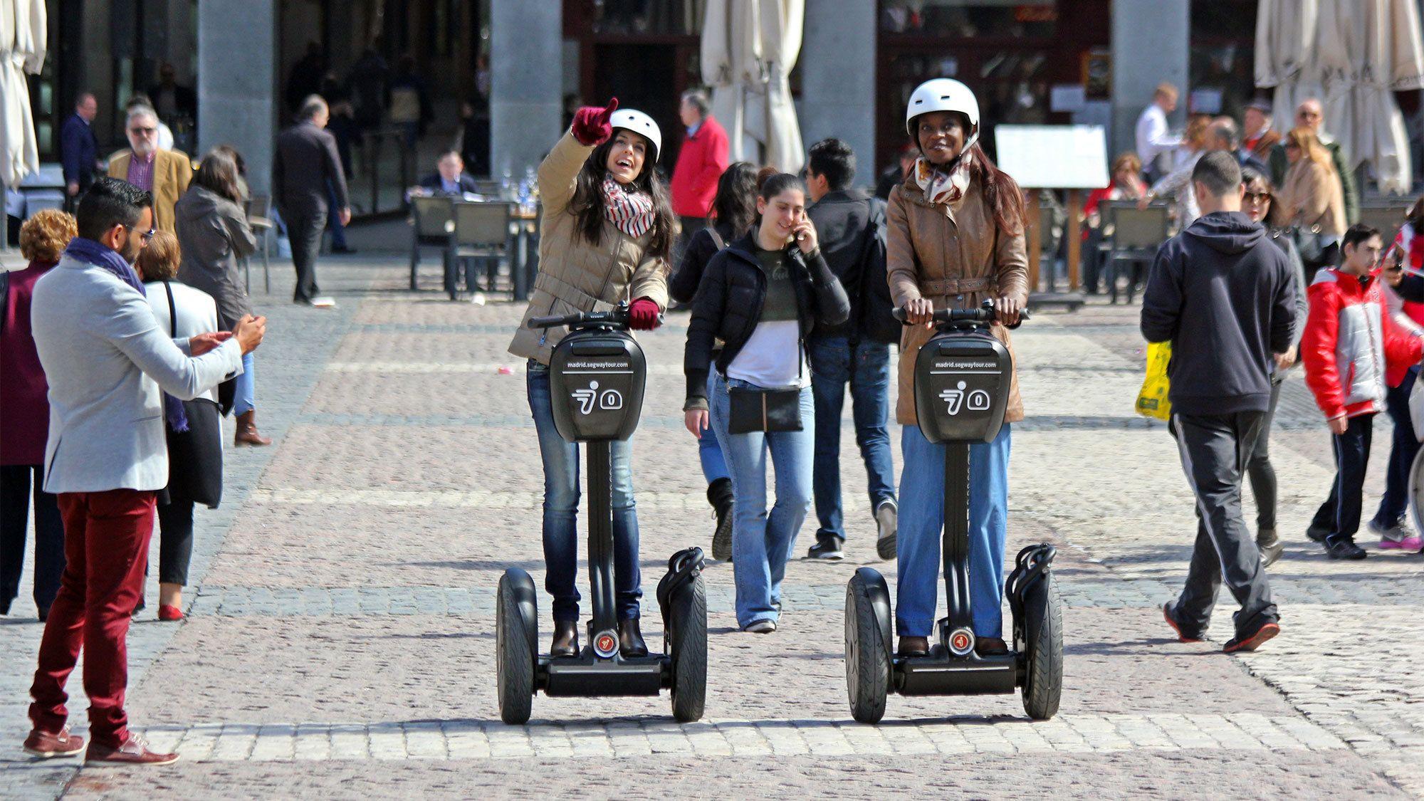 Ladies enjoying the Madrid Segway Tour XXL