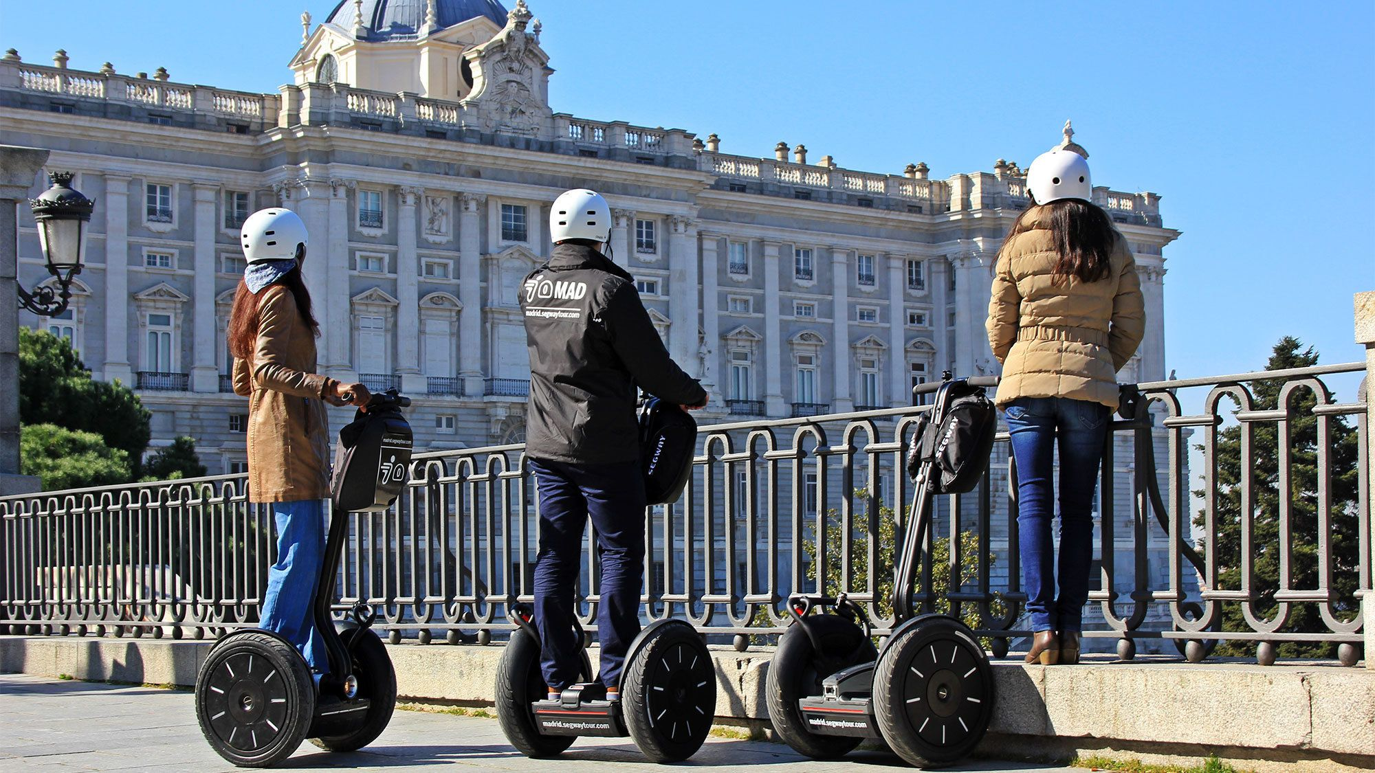 Group admiring a building on the segway tour of Barcelona