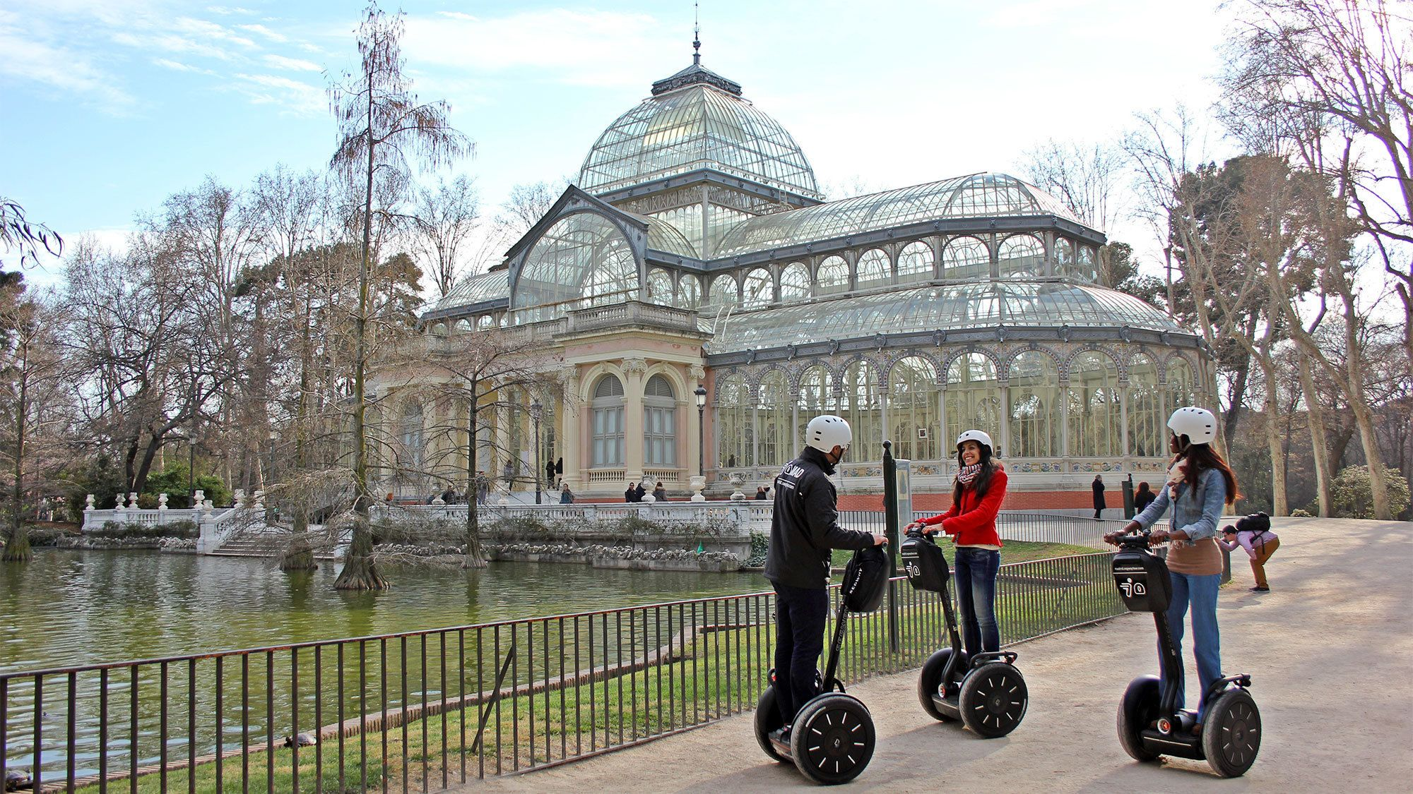 Group of three having a scenic segway tour of Barcelona